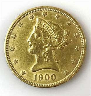 1900 P $10 Liberty Head Gold Coin, XF-AU