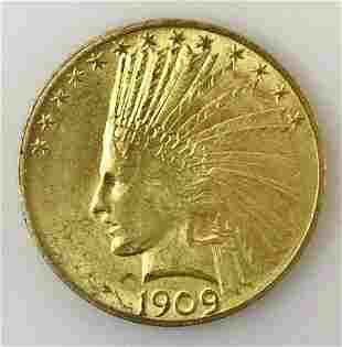 1909 P $10 Indian Head Gold Coin, BU