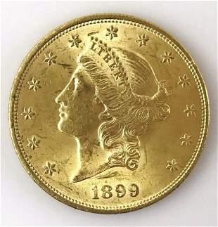 1899 P $20 Liberty Head Gold Coin , BU