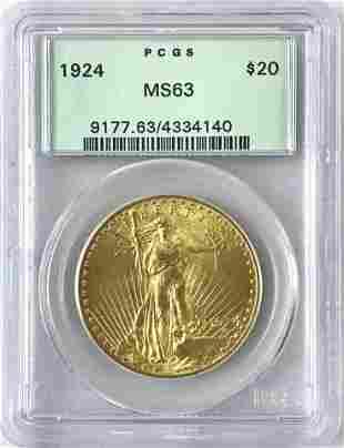1924 P $20 Saint Gaudens Gold Coin, PCGS MS63