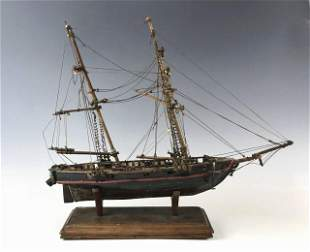 19th C. Wooden Ship Model War of 1812 Privateer