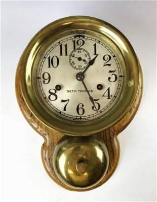 Antique External Bell Ship's Clock, Seth Thomas