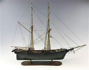 Antique Hand Made Wooden Ship Model
