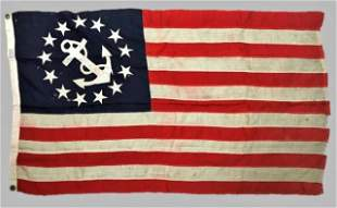 Antique Thirteen Star Yachting Flag, Sterling