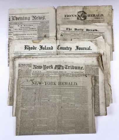 th C. Newspapers, MA, RI, NY & PA (54pc)