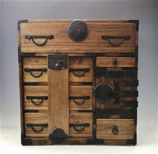 Japanese Meiji Period Wooden Tansu Cabinet