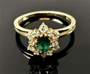 Ladies 14K Gold Emerald and Diamond Ring
