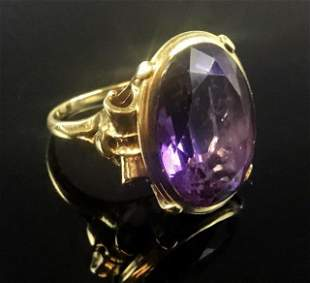 Antique Ladies 14K Gold and Amethyst Ring