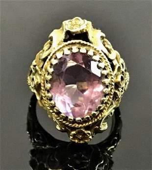 Antique Ladies 14K Gold Amethyst Ring
