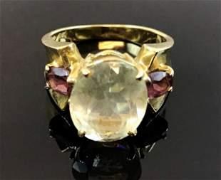Ladies 14K Gold Aquamarine and Tourmaline Ring