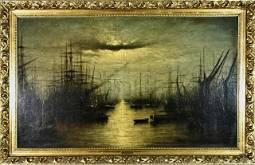 Large 19th C. Painting, Oil on Canvas (J. Mullins)