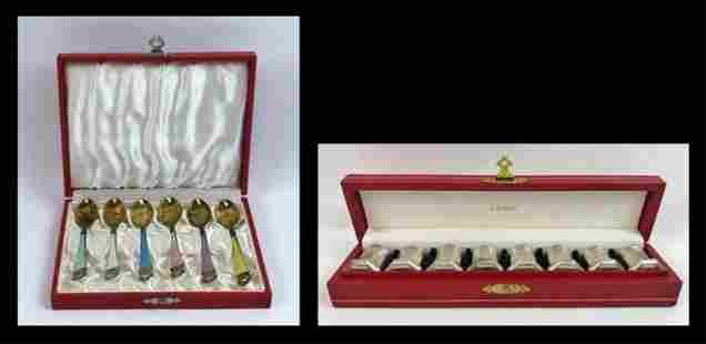 Sterling Demitasse Spoons, Salts, Cartier (2pc)