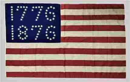 Antique Centennial American Flag, 1776 1876 Stars