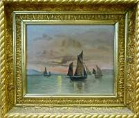 Antique Painting, Oil on Canvas Ships at Sunset
