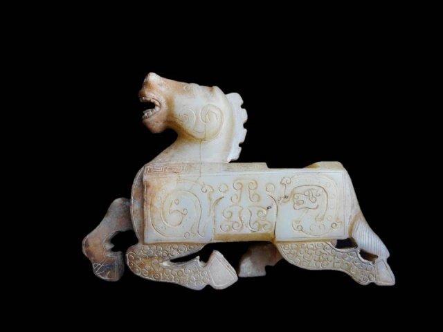 Antique Chinese Jade Horse Brush Rest