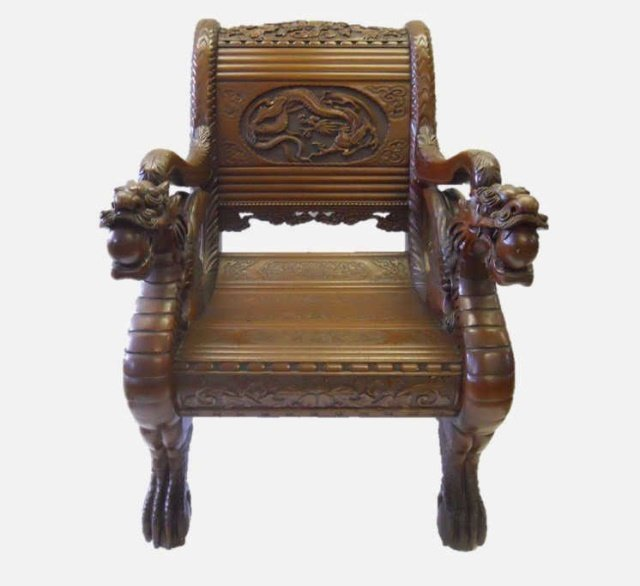 Chinese Carved Dragon Design Arm Chair