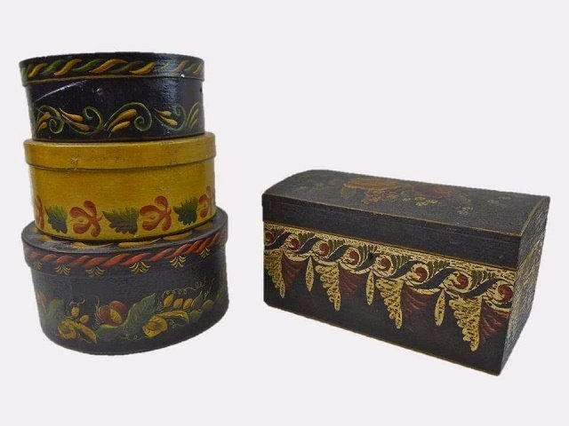 19th C. Folk Painted Pantry Boxes and Chest (4pc)