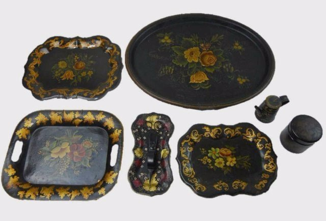 19th C. Toleware Trays and Vessels, (9pc)