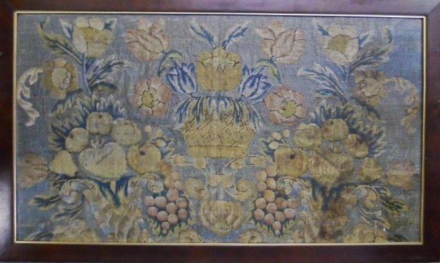 18th C. Silk Embroidery Woven Textile