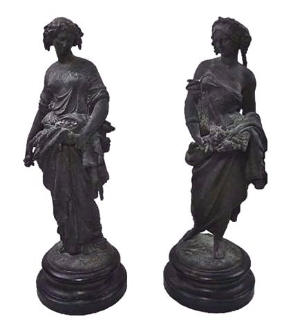 19th C. Bronzed Neoclassical Statues