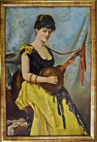 19th C. Oil On Canvas, Woman Playing Instrument