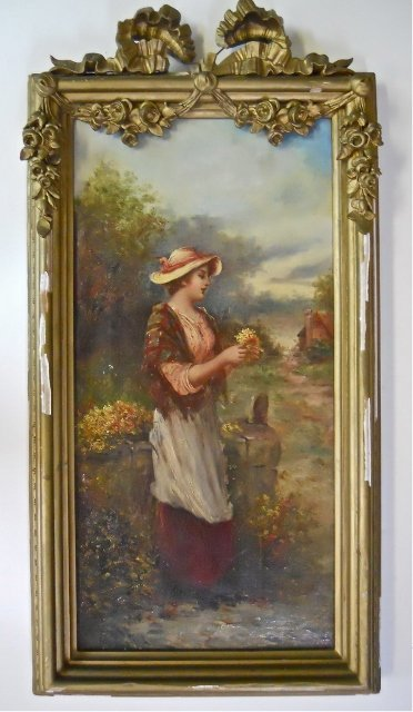 Antique Oil on Canvas, Woman With Flowers