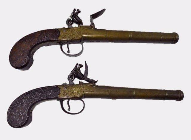 Pair of 18th C. Flintlock Pistols, Bunney London
