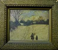 19th C. Primitive Oil on Board, American Indians