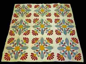 Antique Floral Applique Quilt, Circa 1870