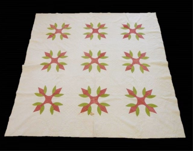 19th C. Wandering Foot Pattern Quilt