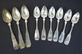 19th C. American Coin Silver Spoons, (9pc)