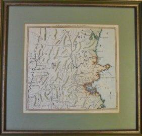 1775 Map, 100 Miles Round Boston, London