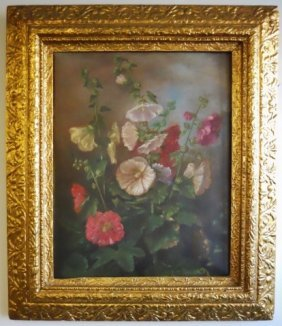Antique Painting, Oil On Canvas, Floral Still Life