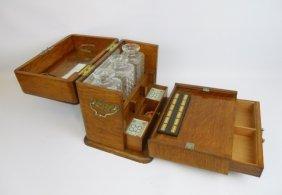 English Tantalus Set In Quarter Sawn Oak Case