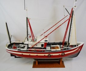 Handmade Wooden Model Of Fishing Boat