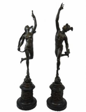 19th C. Bronze Figures Of Mercury And Fortuna