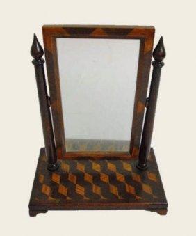 19th C. Mahogany Marquetry Gentleman's Vanity