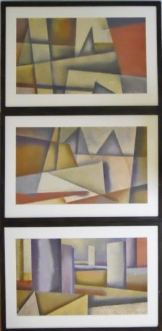 Three Original Abstract Cubist Paintings