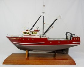 Wooden Model Of Fishing Trawler, Sonia & Nancy, Nb