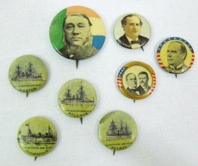 Antique Political And Advertising Buttons, Ca.1896