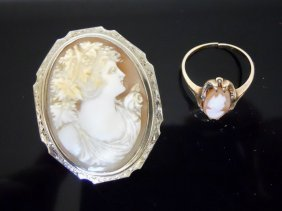 Antique 14k Gold Shell Cameo Pin And Ring