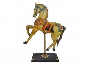 Small Antique Carved Wood Carousel Horse