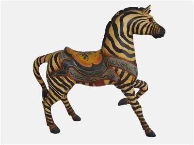 Carved Wood Zebra Carousel Figure