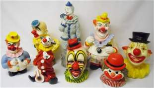 Collection of Ceramic and Chalkware Clown Figures