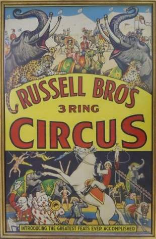 Assortment of Vintage Framed Circus Posters (9)