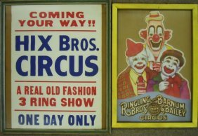 Assortment Of Vintage Framed Circus Posters (7)