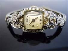 Ladies 14K Gold and Diamond Watch, Hamilton