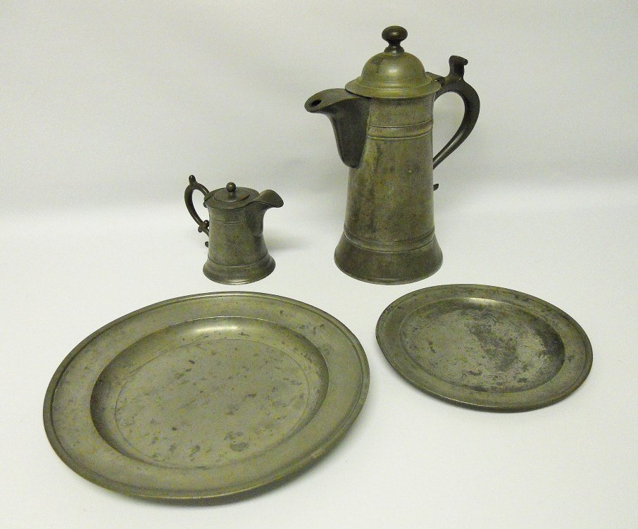 19th C. American Pewter Flagons and Sadware (4pcs)