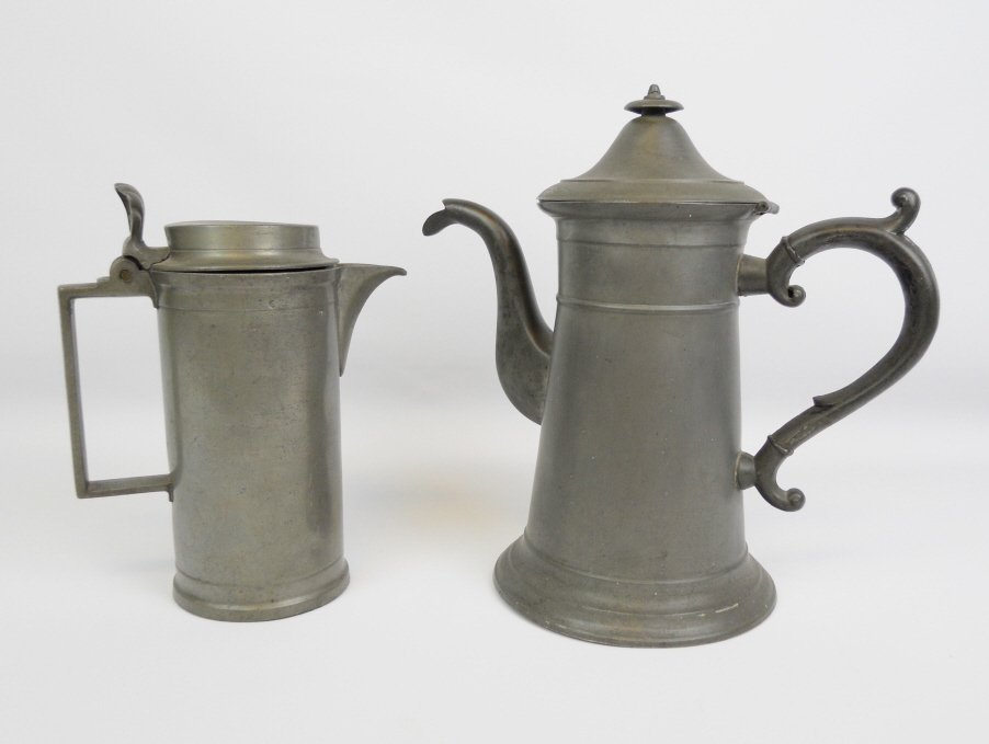19th C.  Pewter Tankard and Connecticut Coffee Pot