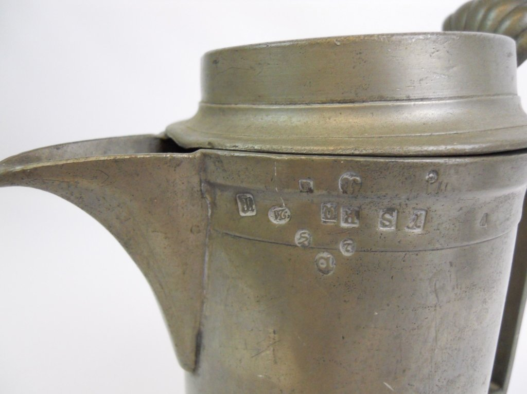 19th C.  Pewter Tankard and Connecticut Coffee Pot - 4